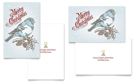 greeting card template page vintage bird greeting card template design
