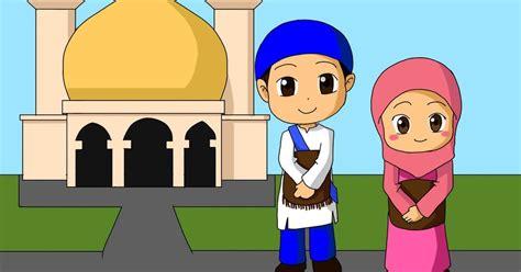 contoh gambar gambar mewarnai anak pergi ke masjid
