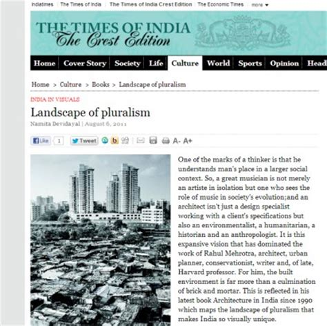 Article On 'architecture In India' In The Times Of India
