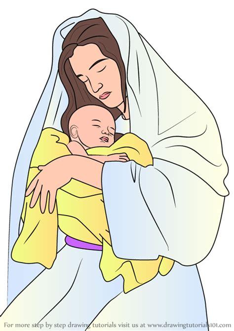 learn   draw mary holding baby jesus nativity