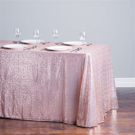 "90 X 132"" Rectangular Sequin Sparkly Tablecloth Table"