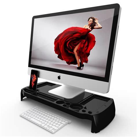 desk organizer monitor stand eutuxia monitor stand black plastic universal laptop