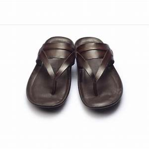 9767 brown leather slippers hitz shoes With letter slippers