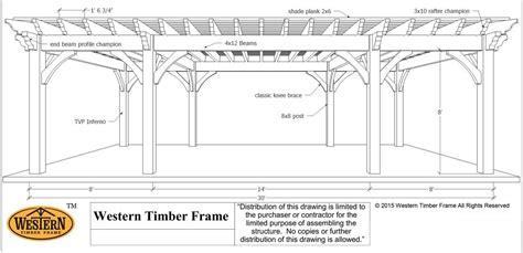 pergola size plan for a 16 x 32 oversize timber frame diy pergola western timber frame
