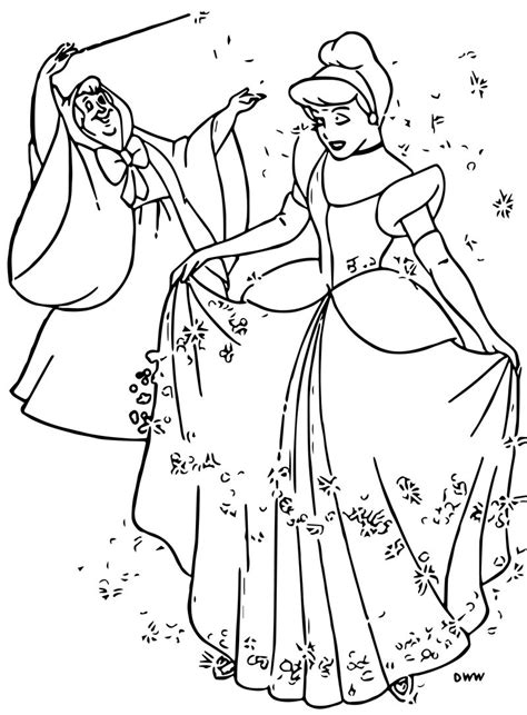 cinderella fairy godmother coloring pages  kids activity