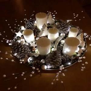 Plateau Pour Bougie : une deco noel pour la table un plateau decoratif lumineux ~ Teatrodelosmanantiales.com Idées de Décoration