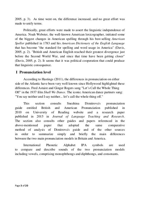 Sociolinguistics Paper: Br. vs. Am. English