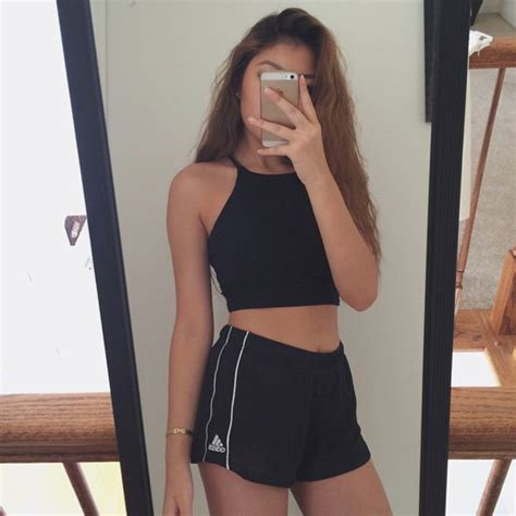 Shorts black tumblr shirt tumblr shorts tumblr outfit black crop top black t-shirt black ...
