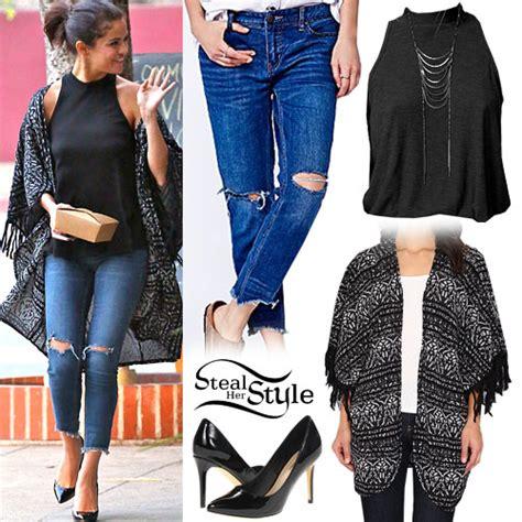 selena gomez print kimono ripped jeans steal  style