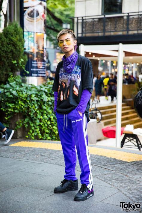 Purple Harajuku Streetwear w/ Palm Angels & Nike Air Force ...