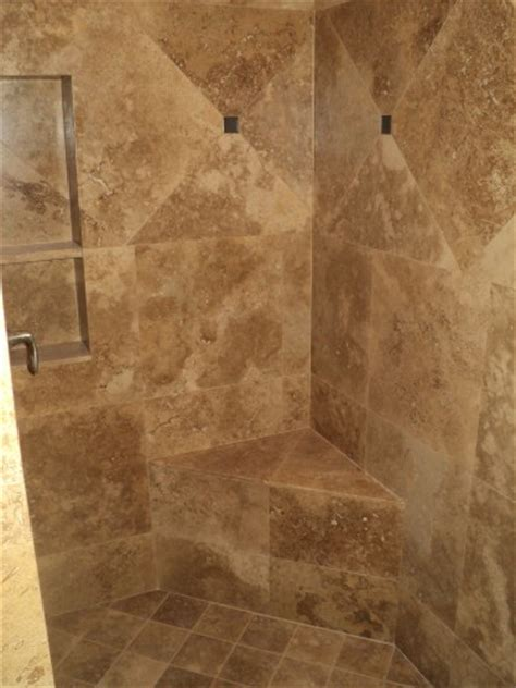 Tile Bench by Travertine Shower