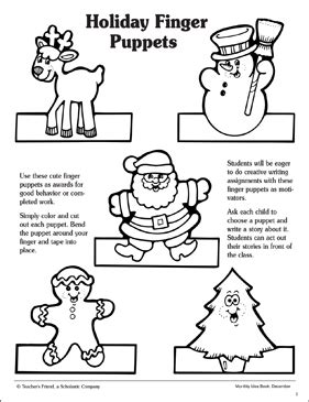 holiday finger puppets patterns printable arts crafts