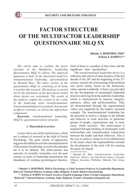 factor structure   multifactor leadership