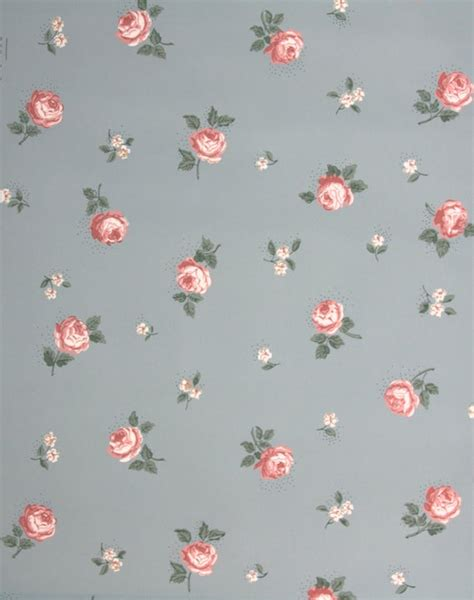vintage wallpaper small pink roses  blue