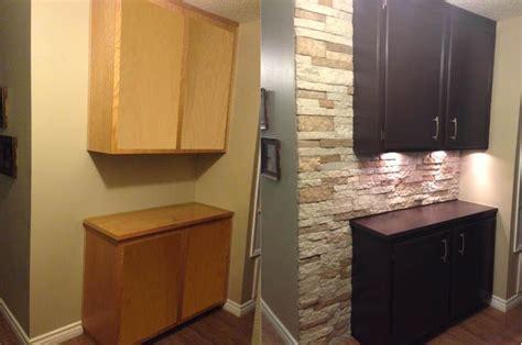 brick backsplash for kitchen just finished re doing our hallway cabinets we used 4878