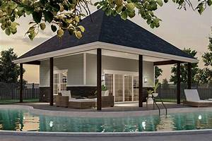 Plan, 62969dj, Hip, Roofed, Poolhouse, Plan, With, Wet, Bar, And