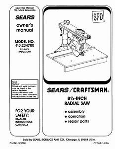 Craftsman 113234700 User Manual Radial Arm Saw Manuals And