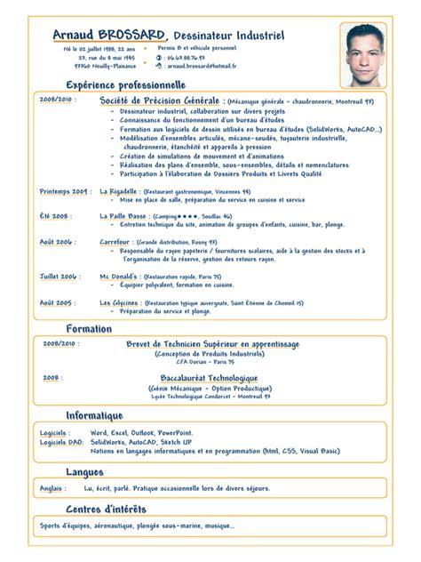 apprentissage en cuisine cv arnaud brossard dessinateur industriel 2010 pdf par niemiec fichier pdf