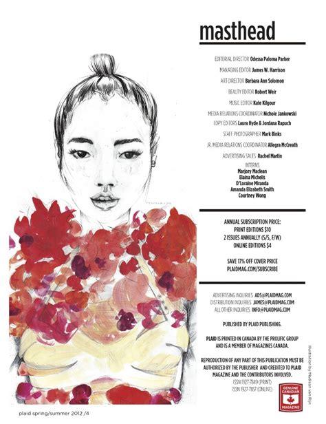 Plaid Magazine Masthead - Madison van Rijn