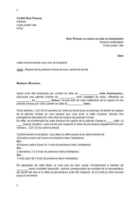 Modification Du Contrat De Travail Pendant Un Arret Maladie by Exemple Gratuit De Lettre Contestation Rupture P 233 Riode