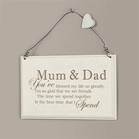 blessed mum and dad hanging plaque by dibor