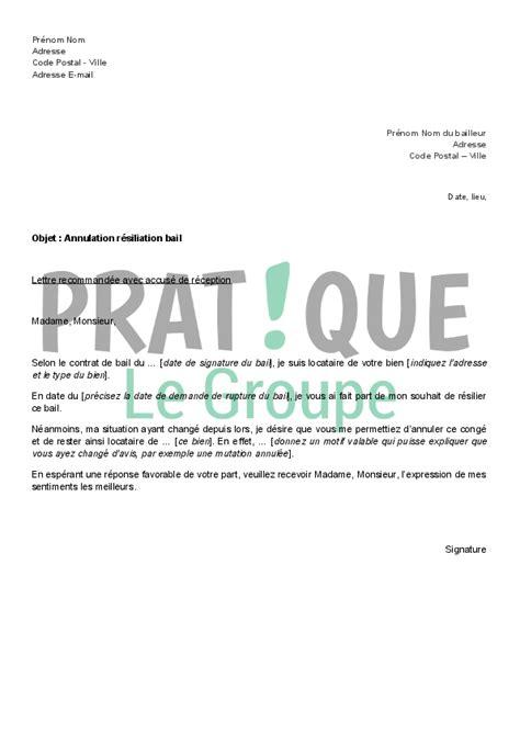 modèle lettre résiliation bail 1 mois lettre d annulation de r 233 siliation de bail pratique fr