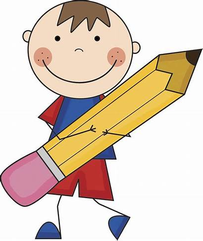 Clipart Pencil Boy Myself Clip Classroom Write