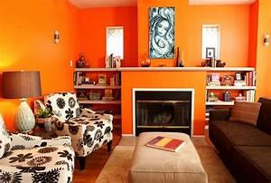 Moderne Orange Farbgestaltung Im Wohnzimmer
