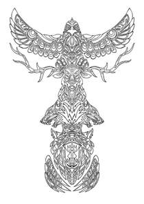 free printable totem pole coloring pages for