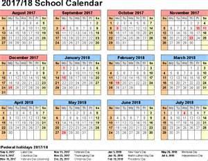 2017 2018 School Year Calendar Printable