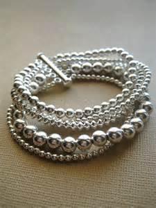 Silver Bracelet, Beaded Bracelet, Sterling Silver, Fine Jewelry
