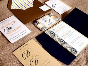 navy gold classic wedding invitation peacock wedding With buy pocketfold wedding invitations