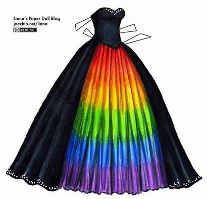 Rainbow Masquerade Gown Paper Underskirt Liana Dresses