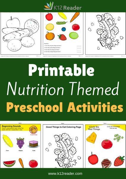 nutrition preschool theme activities printable classroom