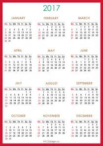 As 2017 Calendar Printable Free