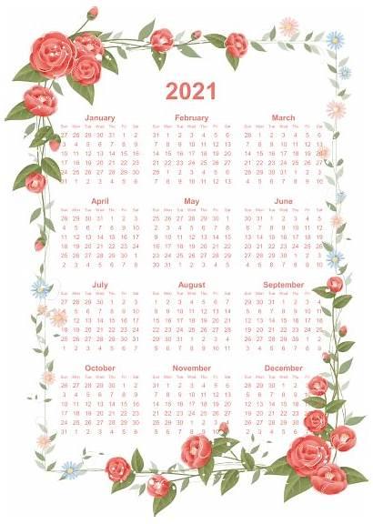 Calendar Printable Yearly Flowers Borders Decorative January
