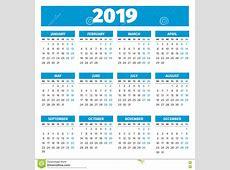 Simple 2019 year calendar stock vector Illustration of