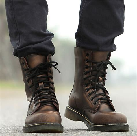 sepatu boots army mens lace up flat oxford ankle boots shoes
