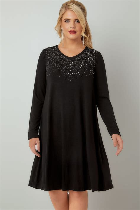 swing dresses black knit swing dress with embellished front plus
