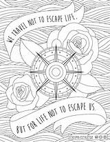 Coloring Adult Travel Inspirational Pdf Escape Trip Quote Sheets Dollhouse Printable Quotes Traveling Adults Mandala Favecrafts Printables Positive Road Getdrawings sketch template