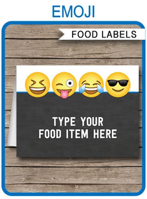 emoji theme party food labels  boys emoji place cards