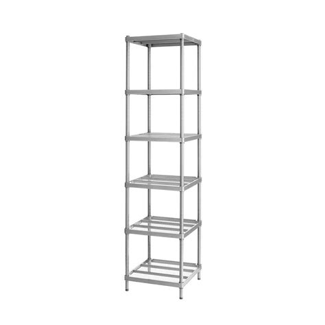 Narrow Wall Shelving Unit by Meshworks 6 Shelf Metal Silver Freestanding Narrow