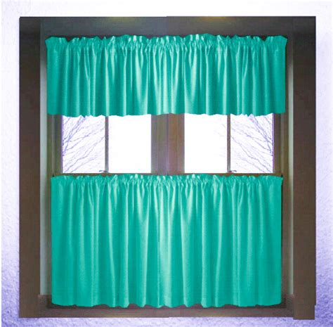 solid teal  dark teal kitchen cafe tier curtains