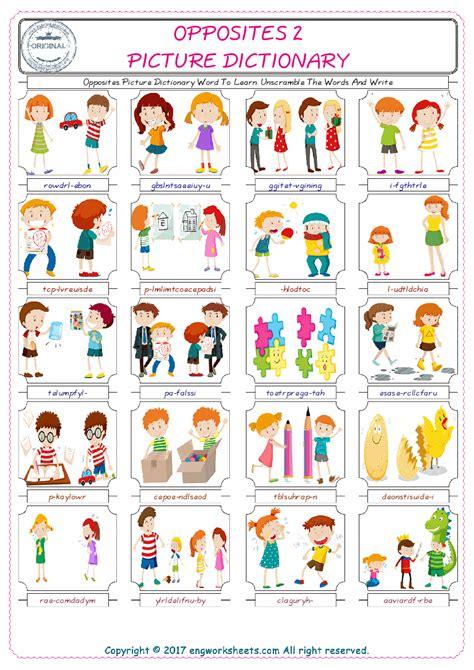 opposites esl printable english vocabulary worksheets