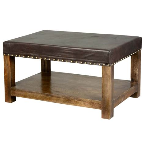 Leather Upholstered Coffee Table by Solid Wood Espresso Leather Upholstered 2 Tier Coffee