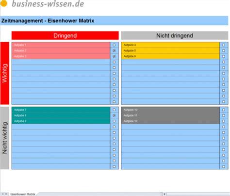 eisenhower matrix zur prioritaetenbildung excel tabelle