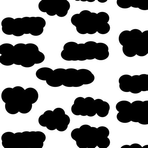 Conjunto de silhuetas de nuvens macias preto sobre fundo