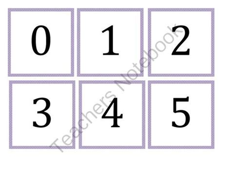 Number Flashcards 0-100 Purple Dot From My Kinder Garden