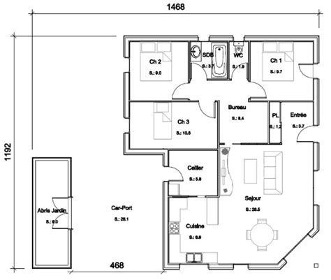 plan maison 3 chambres 1 bureau plan maison plain pied 3 chambres 1 bureau 11 maison