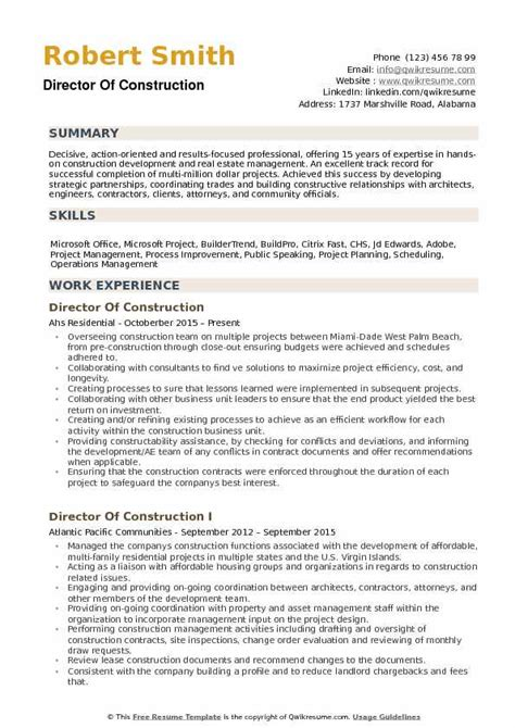 Construction Resume Exles by Director Of Construction Resume Sles Qwikresume